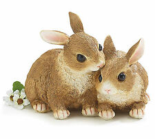 New Brown Bunny Rabbit Snuggling Pair Figurine Easter Spring burton+BURTON
