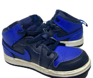 Nike Air Jordan 1 Retro Mid Obsidian Royal Toddler Sneakers 640735-412 Sz 9C