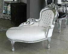 Panchetta dormeuse foglia argento eco pelle bianca divanetto stile Luigi Barocco