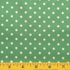 AUNT SUKEY'S CHOICE cotton fabric for sewing or quilting POLKA DOTS green white