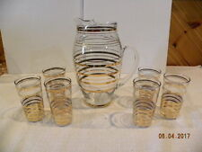Vintage Gold Striped Pitcher and Glasses