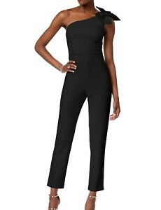 Adrianna Papell Women's Jumpsuit True Black US Size 0 Bow One Shoulder $179 #601
