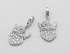 Solid Sterling Silver SPARKLING Angel Heart Charm Bracelet Pendant Necklace