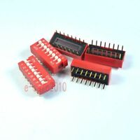 10pcs 2.54mm Pitch 16 Terminals 8 Positions Ways Slide Type DIP Switch Red 8-Bit