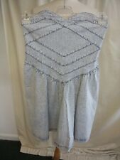 "Ladies Dress Quicksilver size L, strapless, blue striped denim, length 30"", 1934"