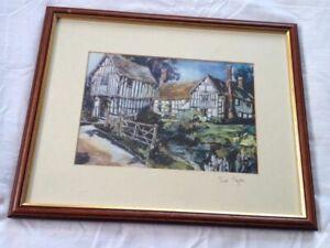 Black and White Tudor Cottages Framed Print Picture Signed Trevor Taylor