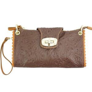 TJS Genuine Leather Handbag Clutch Purse Pattern Handmade in Italy Brown Tan