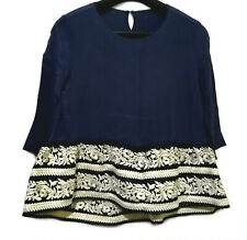 Navy Flare Silk Top With Embroidered Hem