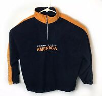 Vintage Perry Ellis America Active 1/4 Zip Navy Blue Fleece Size 2XL