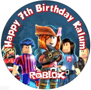 """Roblox, 7.5"""" , 2"""" , 1.5"""" ROUND EDIBLE ICING PRINTED CAKE TOPPER"""