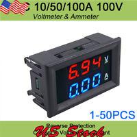 DC 100V 10/50/100A Voltmeter Ammeter Digital Volt Amp Meter Gauge LED Amp Dual