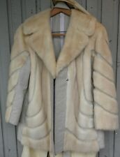 WOMENS VINTAGE CHAR WHITE MINK AND LEATHER BELTED JACKET! Beautiful 1960