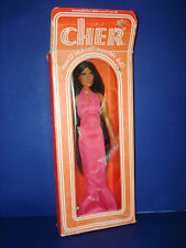 """Vintage Mego 12 1/2"""" Cher Celebrity Vinyl Jointed Doll in Pink Gown in Box 1976"""