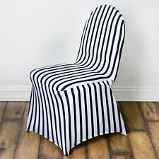 Striped Spandex Chair Cover - Black / White