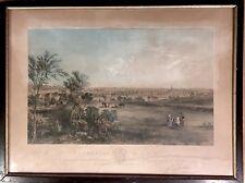 1857 Bradford & Haverhill Massachusetts  lithograph Birdseye view town Boston