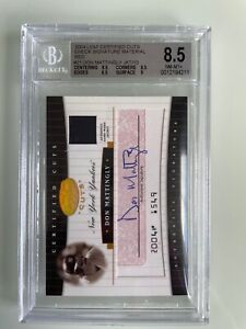 Don Mattingly 2004 Leaf Certified SIGNED CHECK Jacket Relic RED /10 BGS 8.5 10
