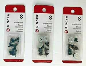 8 Singer Instant NO-SEW Buttons Black White Easy to Attach Button Replacement
