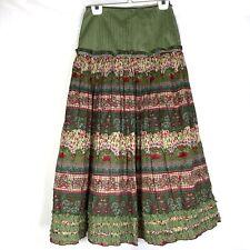 Oilily MaxI Skirt Size 34 XSmall XS Peasant Boho Mixed Pattern Ruffle Green Red