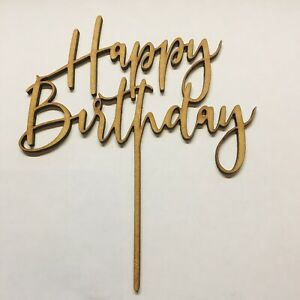 Happy Birthday Cake Topper Size 140mm x 120mm Mdf 3 Mm Blank Craft