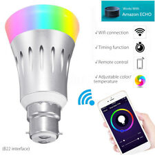 Wireless B22 LED RGB Remote Control Smart Bulb Light for Echo Alexa Google IOS