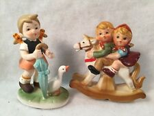 Flambo Collector's Choice Series Girl/Umbrella/Duck + Unmarked Boy/Girl on Hors