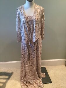 Alex Evenings Sequin Long Dress Jacket 12 New Mother of the Bride Wedding Beige