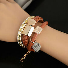 Women Men Cuff Gift Hear Charms Leather Charms Bracelet Wrap Party Sude Jewelry