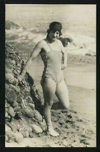 CA Los Angeles RPPC c.1920 MACK SENNETT BATHING BEAUTY TIGHT REVEALING SUIT 96