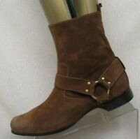 AURI Brown Suede Side Zip Harness Ankle Cowboy Western Boots Mens Size 8.5-9