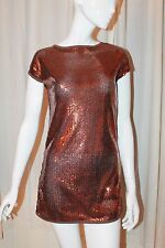 Papaya Womens Copper Orange Brown All Sequin Tunic Shift Top (Mini Dress) Size 8