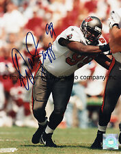 Warren Sapp Autographed Tampa Bay Buccaneers Football 8x10 Photo with COA