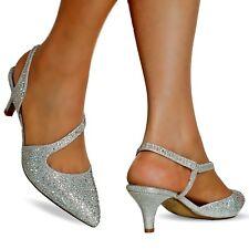 NEW Ladies Diamante Party Evening Low Kitten Heel Court Shoe Size 007