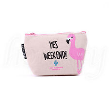 Cute Cosmetic Makeup Bag Purse Toiletry Bag Flamingo Organizer Coin Pouch New