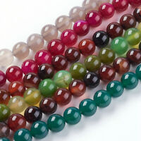 480pcs Mixed Color Round Dyed Natural Agate Beads Strands 8mm Hole:1mm