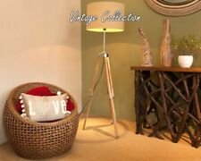 NAUTICAL DESIGNER WOODEN FLOOR LAMP STAND TRIPOD TEAK WOOD DECORATIVE LAMP STAND