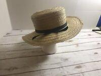 vintage straw hat 7 1/8 black ribbon