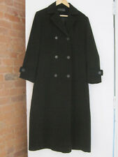 GALLERY Trench Coat Size 1 Womens Ladies Double Breasted Long Black Fall