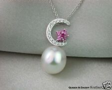 Excellent Luster & Overtone South Sea Pearl Diamond Pink Sapphire Pendant