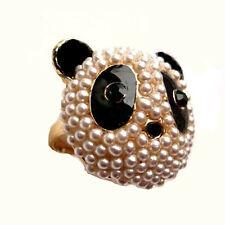 Fun Black & White Crystal Large Pearl Panda Head Ring sz 6