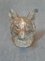 Vintage Cast Metal Fox Head Inkwell