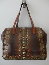 $475.00 SHARIF LEATHER BROWN PYTHON PRINT STUDDED TOTE PURSE W WRISTLET - NWT