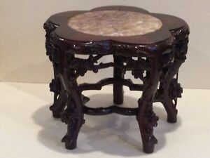 Antique Chinese Rose Wood Intricately Carved Stand w/Pink Granit Top, circa 1900