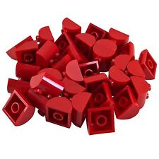 30 New Lego Brick, Modified 2 x 2 Curved Top 2 Top Studs red