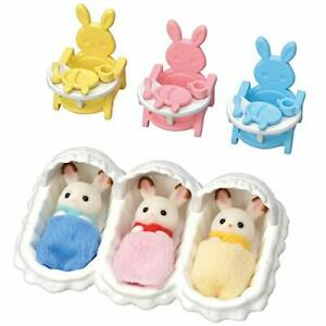 Calico Critters Triplets Care Set Dollhouse Playset with 3 Hopscotch Rabbit F...