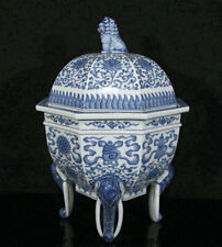 "13.6"" Qianlong Marked Old China Blue White Porcelain 8 treasures Incense Burner"