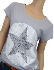 T-Shirt 40 42 44 grau weiß Stern Sternen-Shirt Baumwolle Made in Italy Nieten