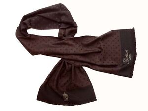 Battisti Scarf Dark brown & black dots, Battisti logo, double-faced Zegna Baruff