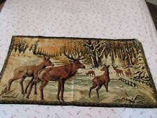 Vintage Velvety Tapestry - White Tailed Deer - Doe Buck - 20x39
