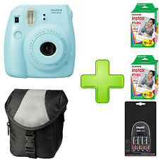 Fujifilm Instax Mini 8 - Blue + Case + 4 x AA Batteries + Charger  and 40 Film