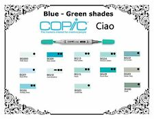 Copic Ciao Markers - Blue Green Shades - Refillable With Copic Various Inks